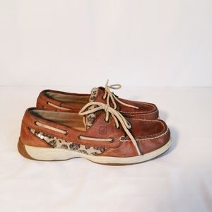 Sperry Angelfish Leopard print sequin boat shoes